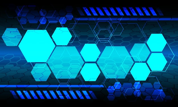 Blaue technologie hexagon-monitoranzeigedaten futuristisches design-hintergrund-vektor-illustration.