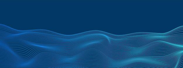 Blaue technologie verzerrte linien digitales netzwerk hintergrund wellenförmiges kommunikationskonzept