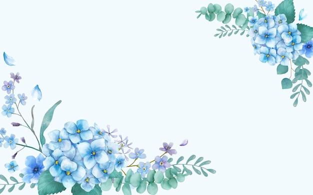 Blaue themenorientierte grußkarte mit blumen