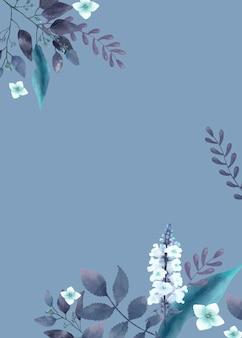 Blaue themenorientierte grußkarte mit miniaturblättern