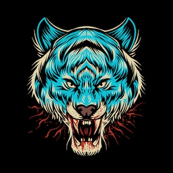Blaue tigerkopfillustration auf dunkelheit