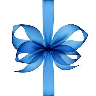 Blaue transparente schleife und band draufsicht nahaufnahme isoliert.