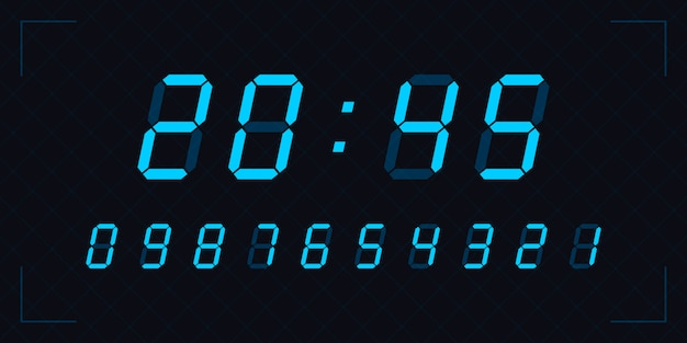 Blaue uhrennummern. digitale nummern eingestellt. taschenrechner.