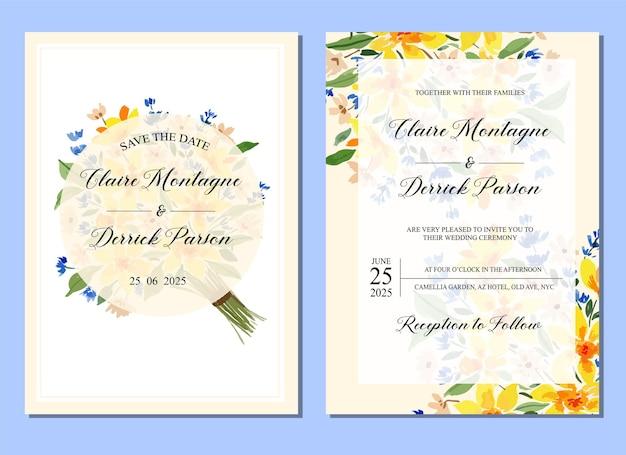 Blaue und gelbe lose aquarellblumenhochzeits-einladung