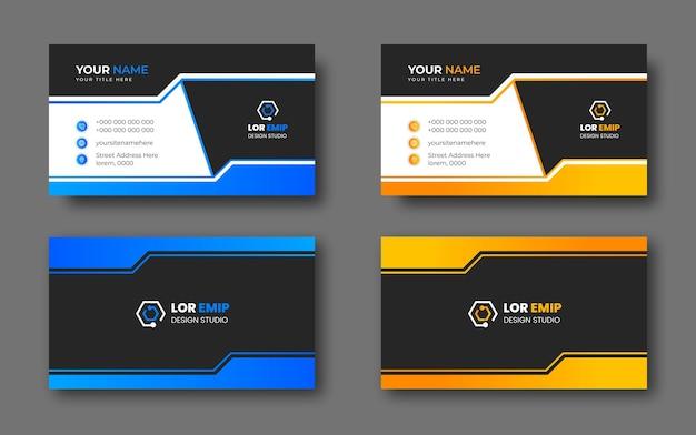 Blaue und gelbe moderne kreative visitenkarten-designschablone