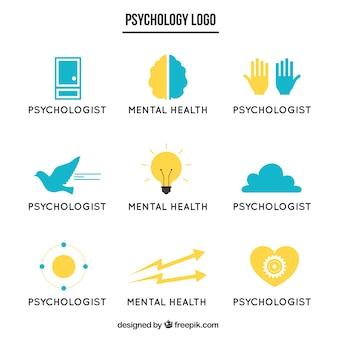 Blaue und gelbe psychologie logos in flaches design