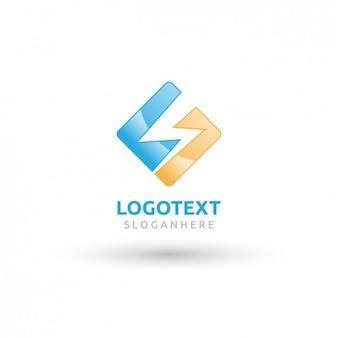 Blaue und gelbe quadrat-logo mit einem donner