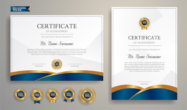 Blaue und goldene diplomzertifikat-randschablone mit luxusabzeichen und modernem linienmuster für dokumentendruck