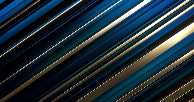 Blaue und goldene geschichtete oberfläche. abstrakter geometrischer hintergrund. zufälliges ebenenmuster. gestreifte textur. futuristisch elegante dekoration.