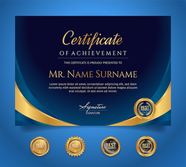 Blaue und goldene vorlage für das leistungszertifikat mit luxusabzeichen