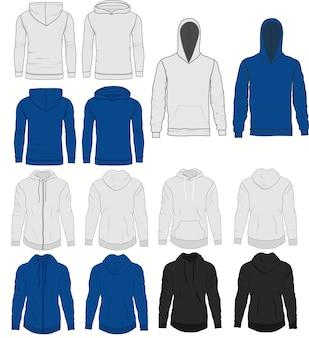 Blaue und graue kapuzenmode der männer, sweatshirtschablone. realistische oberbekleidungskleidung, vorder- und rückansicht. sportlicher und urbaner stil