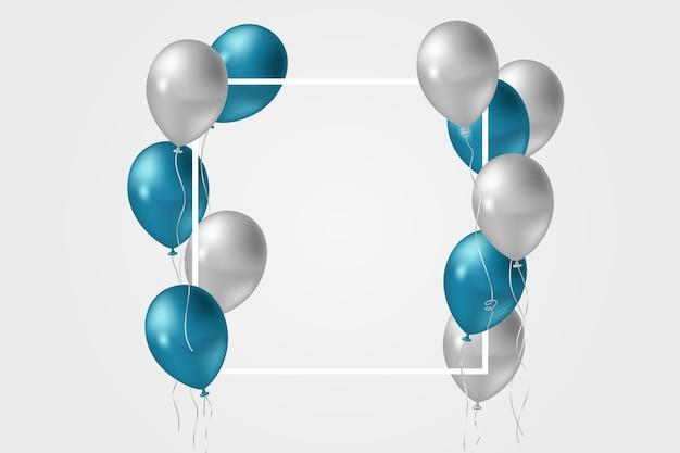 Blaue und graue luftballons im realistischen stil