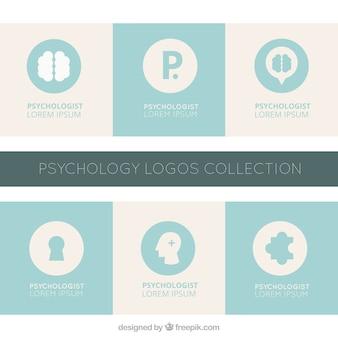 Blaue und graue psychologie logos