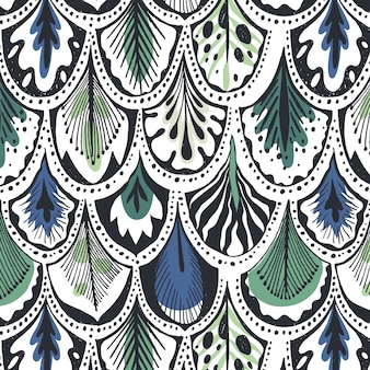 Blaue und grüne federn muster