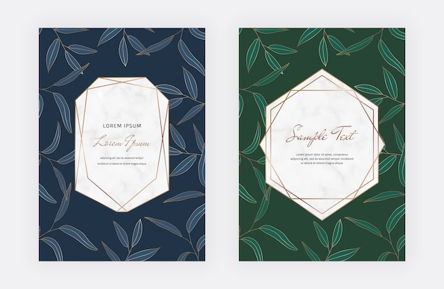 Blaue und grüne karten mit blättern, geometrische weiße marmorrahmen. blaue und grüne karten mit blättern, geometrische weiße marmorrahmen.