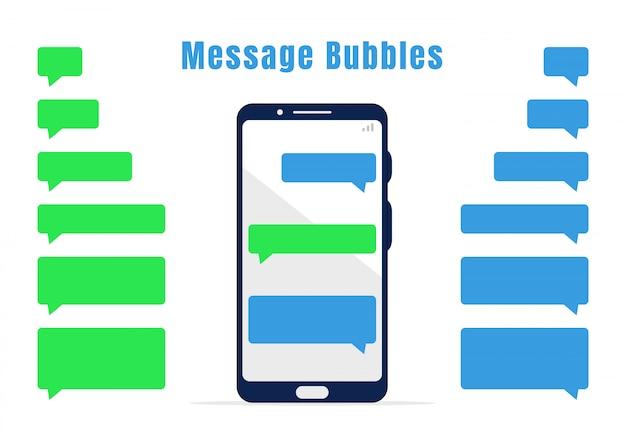 Blaue und grüne messaging-blasensammlung. leere mobile chat-designelemente und weißes mobiltelefon