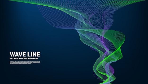 Blaue und grüne schallwelle linie kurve auf dunklem hintergrund