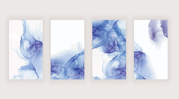 Blaue und lila aquarell-alkoholtinte für social-media-geschichten-banner