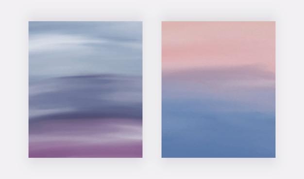 Blaue und lila aquarellpinsel-strichabdeckungssatz