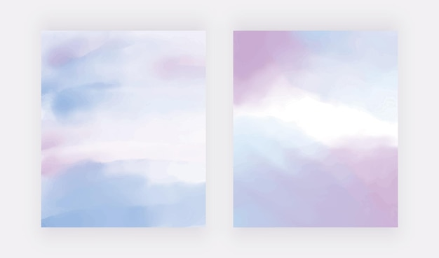 Blaue und lila handzeichnung aquarellhintergründe