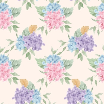 Blaue und lila hortensie aquarell blumen nahtlose muster
