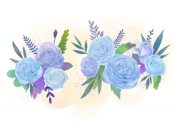 Blaue und lila rosenblumenaquarellillustration