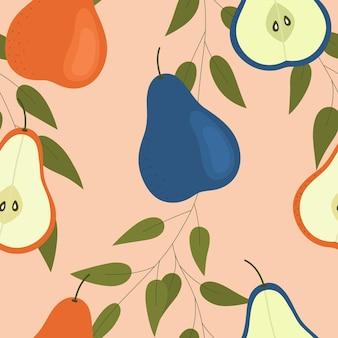 Blaue und orange birnen auf hellem hintergrund nahtloses muster