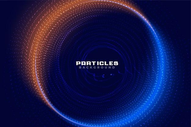 Blaue und orange partikel rahmen technologiehintergrund ein
