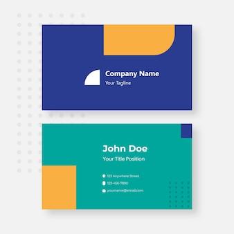 Blaue und orangefarbene visitenkarten-designvorlage
