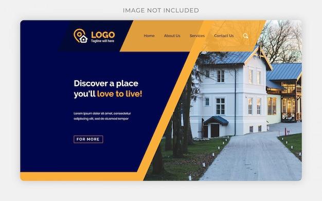 Blaue und orangefarbene web-landingpage oder homepage-designvorlagen des immobiliengeschäfts
