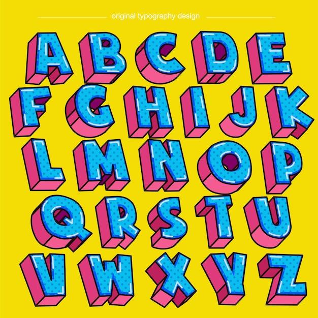 Blaue und rosa 3d-gepunktete muster-karikatur-isolierte buchstaben