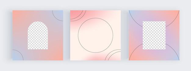 Blaue und rosa farbverlaufshintergründe für social-media-banner