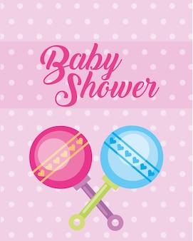 Blaue und rosa spielzeug rasseln baby-dusche-karte