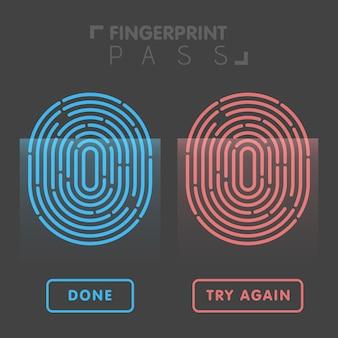 Blaue und rote linie fingerabdruck in schwarzer hintergrundvektorillustration.
