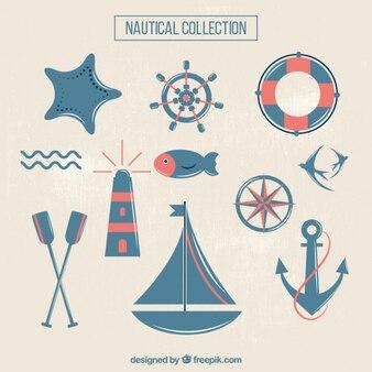 Blaue und rote nette segeln dinge