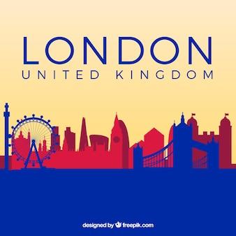Blaue und rote skyline von london