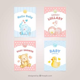 Blaue und rote willkommens-babykarten