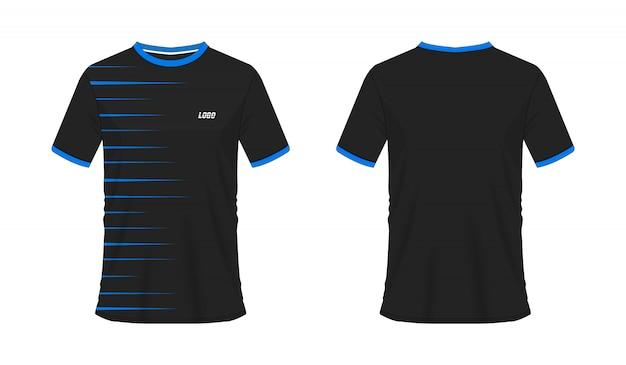 Blaue und schwarze fußball- oder fußballschablone des t-shirts für mannschaftsverein auf weißem hintergrund. jersey sport