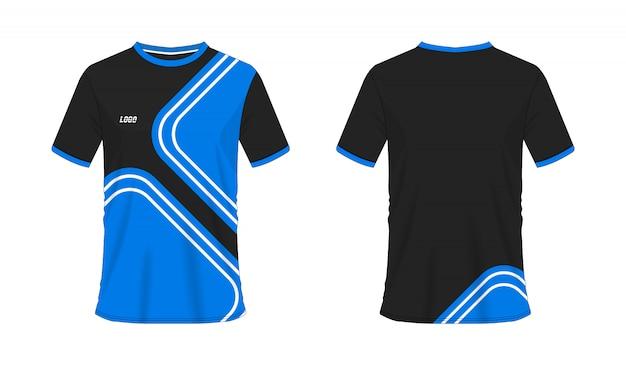 Blaue und schwarze fußball- oder fußballschablone des t-shirts für teamclub auf weiß
