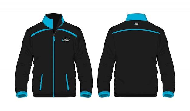 Blaue und schwarze schablone der sportjacke für entwurf auf weißem hintergrund.