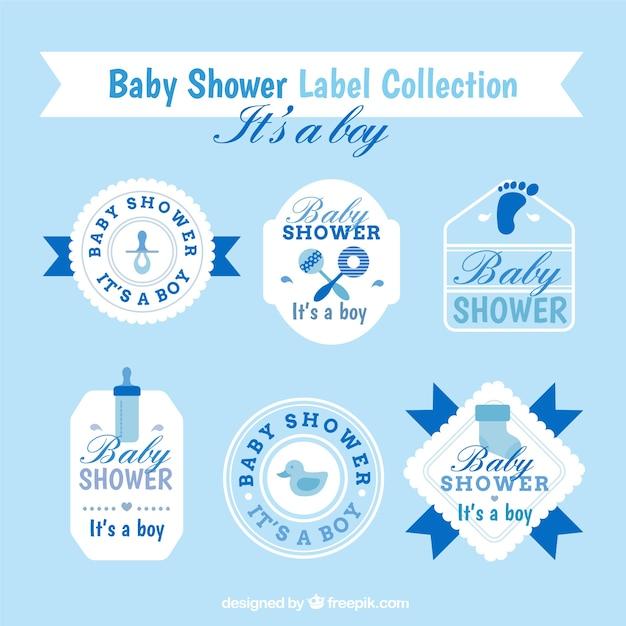 Blaue und weiße babyparty-aufkleber