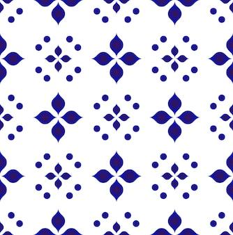 Blaue und weiße blumenmuster