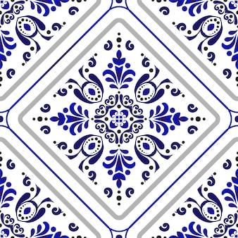 Blaue und weiße blumentapete Premium Vektoren