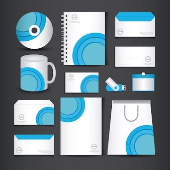 Blaue und weiße briefpapier vorlage