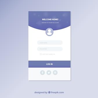 Blaue und weiße login-formularvorlage