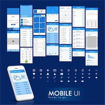 Blaue und weiße mobile app design