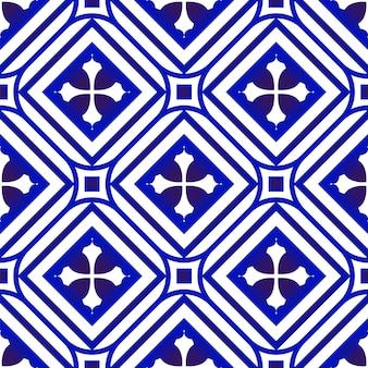 Blaue und weiße nahtlose blumentapete