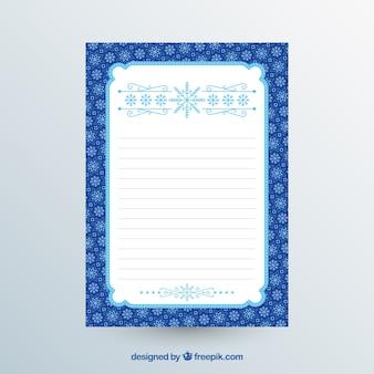 Blaue und weiße weihnachtsbriefschablone