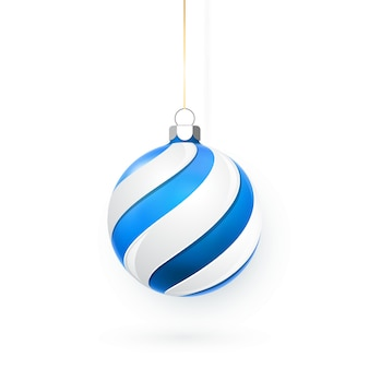Blaue und weiße weihnachtskugel. feiertagsdekorationsschablone.
