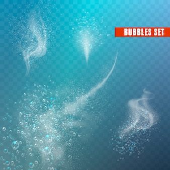 Blaue unter wasser zischende luftblasen.